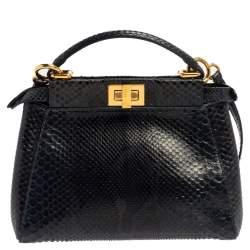 Fendi Blue/Black Python Mini Peekaboo Top Handle Bag