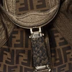 Fendi Tobacco/Metallic Zucca Canvas and Leather Spy Bag