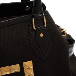 حقيبة فندي دو جور كبيرة مرصعة جلد نوبوك وكانفاس زوكا سوداء/ بنية