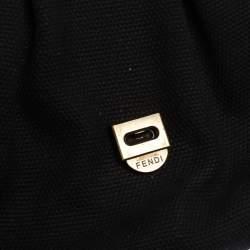 Fendi Black/Silver Canvas and Patent Leather B Shoulder Bag