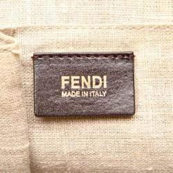 Fendi White/Brown Leather Selleria Shoulder Bag
