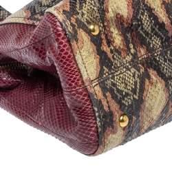 Fendi Multicolor Snakeskin Chameleon Satchel