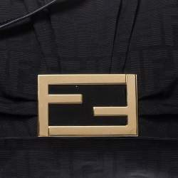 Fendi Black Zucca Canvas and Patent Leather Mia Crossbody Bag