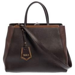Fendi Dark Brown Leather Medium 2jours Tote