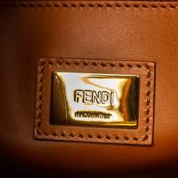 Fendi Olive Green/Brown Canvas and Leather Peekaboo Utility Top Handle Bag