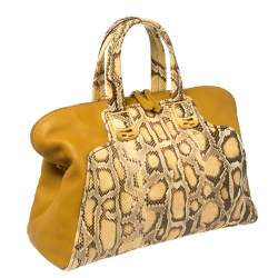 Fendi Yellow Honey Python and Leather Large Chameleon Satchel