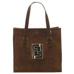 Fendi Brown Suede Vintage Tote Bag