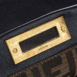 Fendi Black Leather Peekaboo Satchel Bag