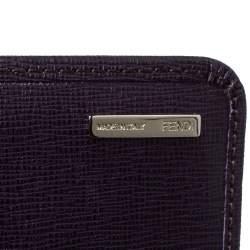 Fendi Purple Leather Elite Continental Wallet