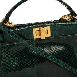 Fendi Green/Black Shiny Python Mini Peekaboo Top Handle Bag