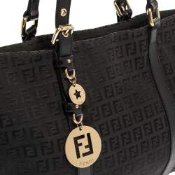 Fendi Black Zucchino Canvas and Leather Superstar Shopper Tote