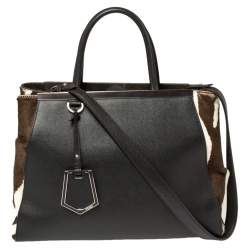 Fendi Dark Brown/White Leather and Calf Hair Medium 2jours Tote