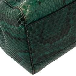 Fendi Green/Black Python Mini Peekaboo Top Handle Bag
