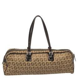 Fendi Brown/Beige Zucchino Canvas and Leather East West Satchel