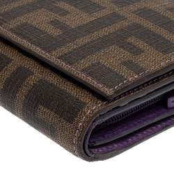 Fendi Tobacco Zucca Coated Canvas Continental Wallet