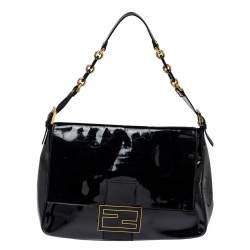 حقيبة كتف فندي قلاب ماما فورفر كبيرة جلد لامع أسود