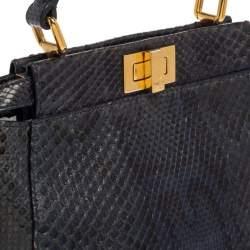 Fendi Navy Blue/Black Python Mini Peekaboo Top Handle Bag