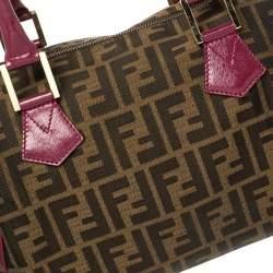 Fendi Tobacco/Purple Zucca Canvas and Leather Medium Chef Boston Bag