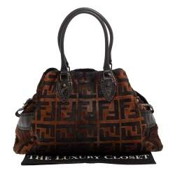 Fendi Brown Calfhair, Suede and Leather Chef De Jour Bag