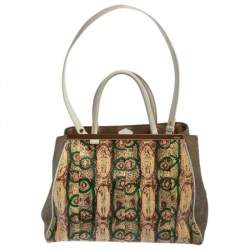 Fendi Multicolor Printed Python And Canvas 2Jours Tote