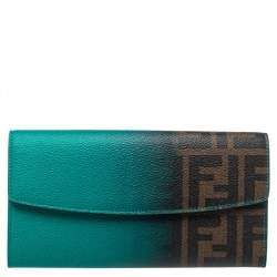 Fendi Green Ombre Zucca Coated Canvas Continental Wallet