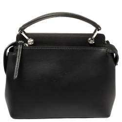 Fendi Black Leather Hypnoteyes Dotcom Top Handle Bag