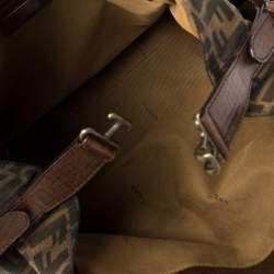 Fendi Tobacco Zucca Canvas and Leather Chef De Jour Bag