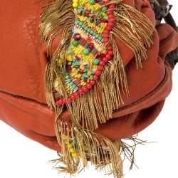 Fendi Multicolor Leather, Beaded and Fringe Embellished Spy Bag