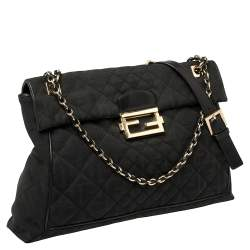 Fendi Black Zucca Quilted Canvas Maxi Baguette Flap Shoulder Bag