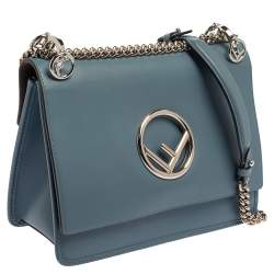 Fendi Ash Blue Leather Kan I F Top Handle Bag