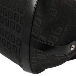 Fendi Black Zucchino Canvas and Leather Tote