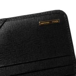 Fendi Black Leather Flap Elite Continental Wallet