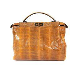 Fendi Brown Python Mini Peekaboo Top Handle Bag