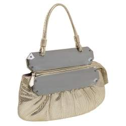 Fendi Silver Shimmering Leather Disco To You Clutch