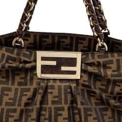 Fendi Tobacco Zucca Canvas and Patent Leather Large Mia Chain Tote