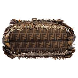 Fendi Tobacco Zucca Canvas and Leather Fringed Spy Bag