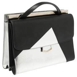 Fendi Black/Silver Textured Leather Small Demi Jour Top Handle Bag