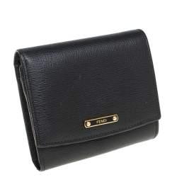 Fendi Black Leather Compact Wallet