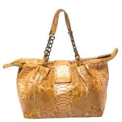 Fendi Mustard Python B Shoulder Bag