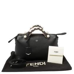 Fendi Black Leather Faux Pearl Embellished Medium By The Way Satchel