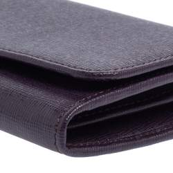 Fendi Purple Leather Flap Continental Wallet