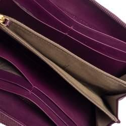 Fendi Purple Leather Zip Around Wallet