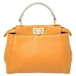 Fendi Orange/Green Leather Mini Peekaboo Top Handle Bag