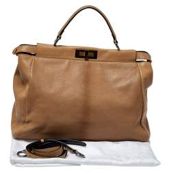 Fendi Beige Leather with Suede and Python Lining Large Peekaboo Top Handle Bag