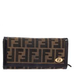 Fendi Tobacco Zucca Canvas and Leather Continental Flap Wallet