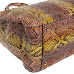 Fendi Multicolor Python Twins Shopper Tote