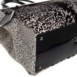 Fendi Black/White Animal Print Calfhair and Patent Leather Medium 2Jours Tote