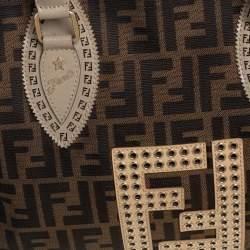 Fendi Tobacco Zucca Grommet Canvas and Nubuck Leather Chef De Jour Bag