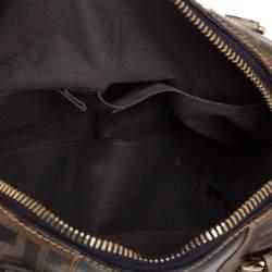 Fendi Black/Tobacco Zucca Coated Canvas and Nylon Boston Bag