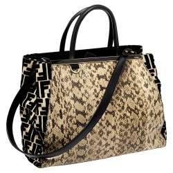 Fendi Black/Cream Zucca Velvet and Python Medium Sac 2jours Tote
